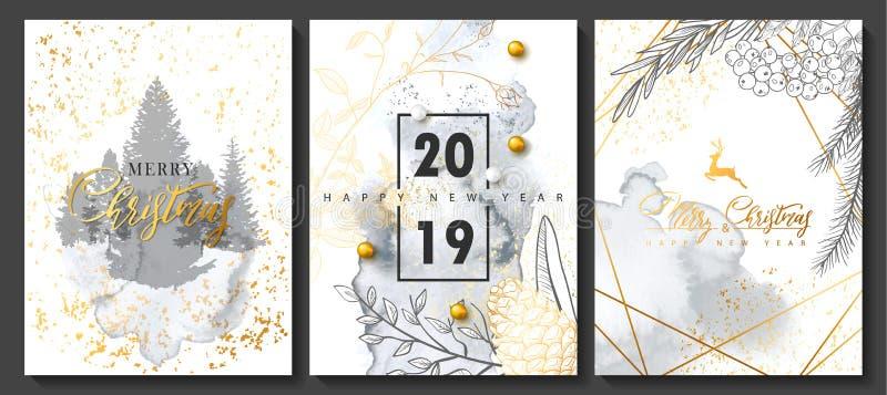 2019 Wesoło bożych narodzeń i Szczęśliwych nowego roku luksusu karty inkasowi z akwareli teksturą i Złotym geometrycznym kształte royalty ilustracja
