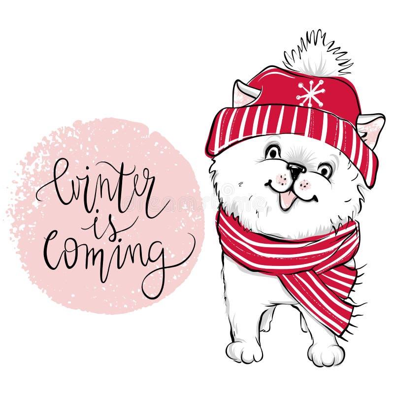 Wesoło bożych narodzeń 2018 ilustracja z śmiesznym psem Ręka rysujący vec ilustracji