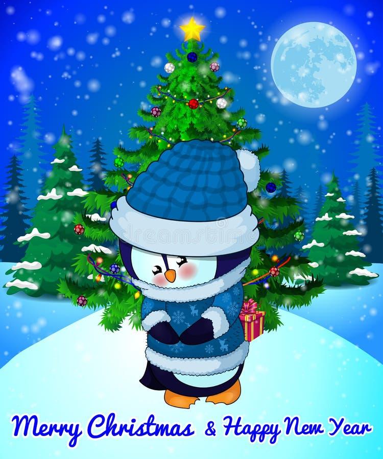 Wesoło bożych narodzeń kartka z pozdrowieniami z Ślicznym pingwinem na lasu i płatków śniegu tle royalty ilustracja