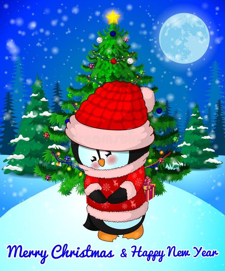 Wesoło bożych narodzeń kartka z pozdrowieniami z Ślicznym pingwinem na lasu i płatków śniegu tle ilustracja wektor