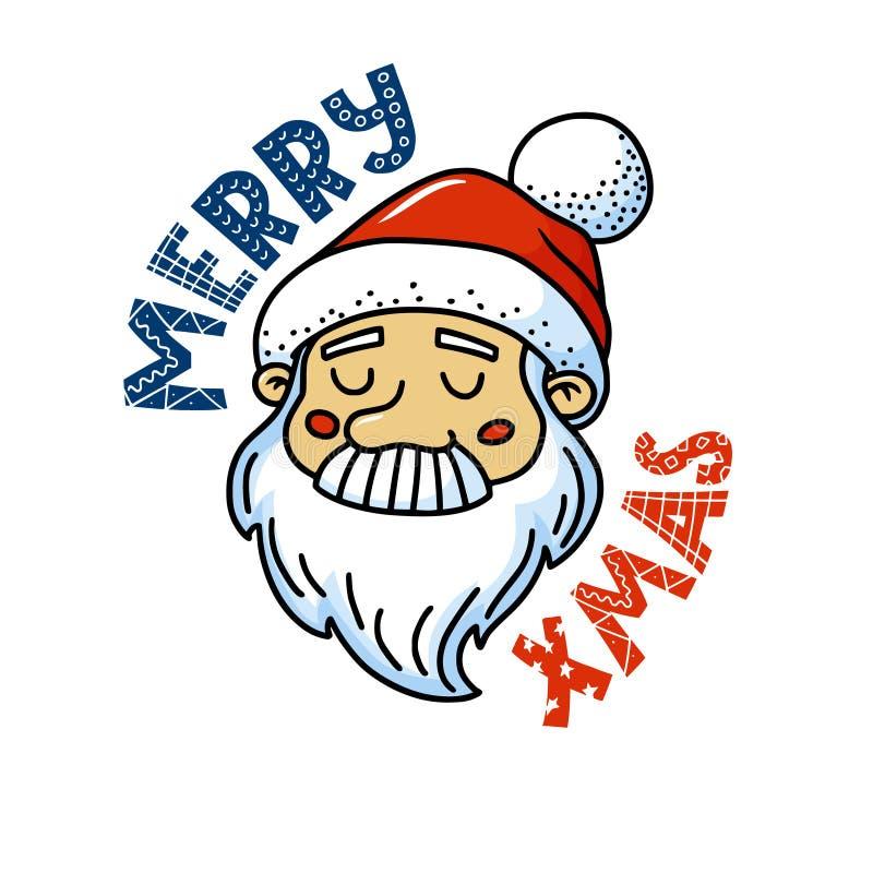 Wesoło bożych narodzeń kartka z pozdrowieniami z ślicznym Santa ilustracja wektor
