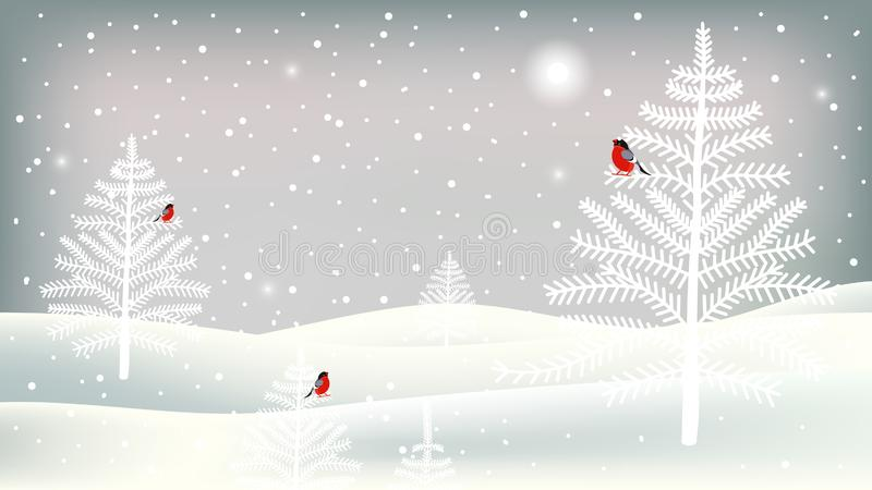Wesoło bożych narodzeń kartka z pozdrowieniami z ślicznymi charakterami Tło z gilami, drzewami, krajobrazem i opad śniegu, ilustracji