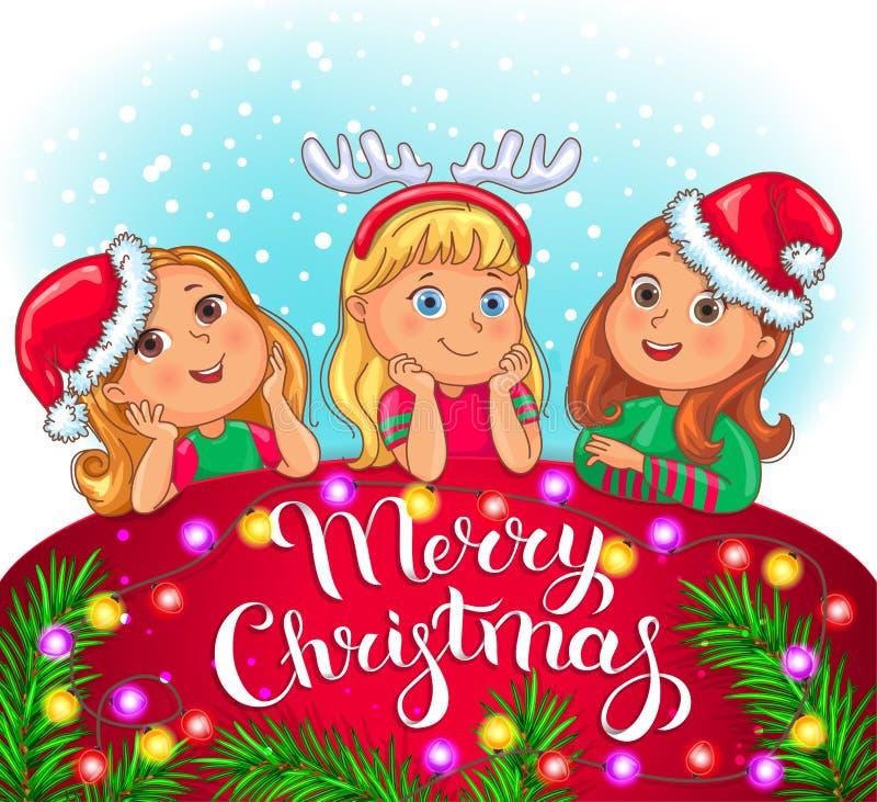 Wesoło bożych narodzeń kartka z pozdrowieniami z ślicznymi dzieciakami ilustracji