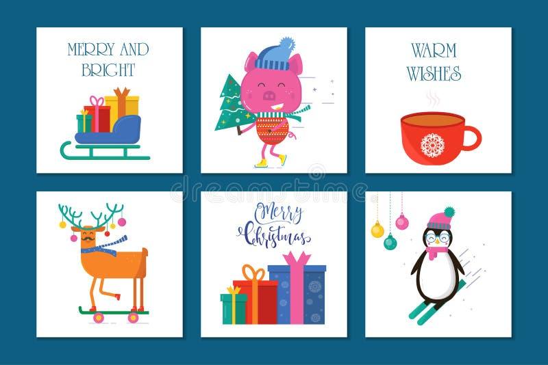 Wesoło bożych narodzeń 6 kartka z pozdrowieniami z ślicznymi zwierzętami: świnia, pingwin ilustracji