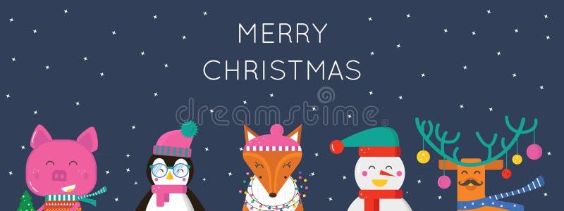 Wesoło bożych narodzeń kartka z pozdrowieniami z ślicznymi zwierzętami: świnia, renifer, pingwin, lis i bałwan, royalty ilustracja