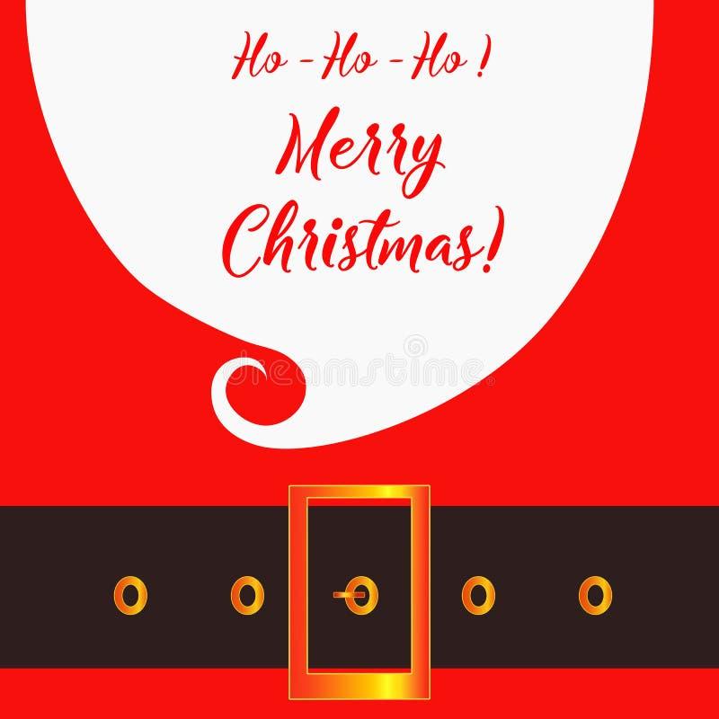 Wesoło bożych narodzeń kartka z pozdrowieniami z Święty Mikołaj Modnisia styl Santa ` s szkła i wąsy Święty Mikołaj broda ilustracja wektor