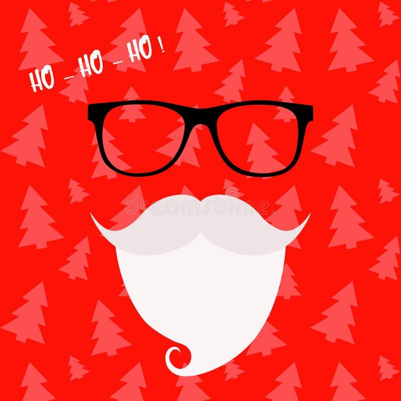 Wesoło bożych narodzeń kartka z pozdrowieniami z Święty Mikołaj Modnisia styl Santa ` s szkła i wąsy Święty Mikołaj broda ilustracji