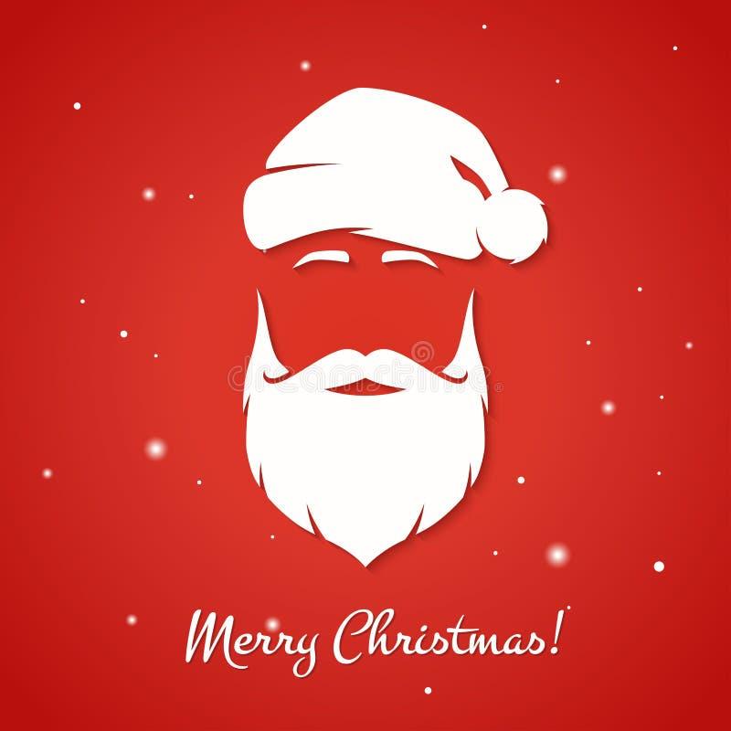 Wesoło bożych narodzeń kartka z pozdrowieniami z Święty Mikołaj sylwetką ilustracja wektor