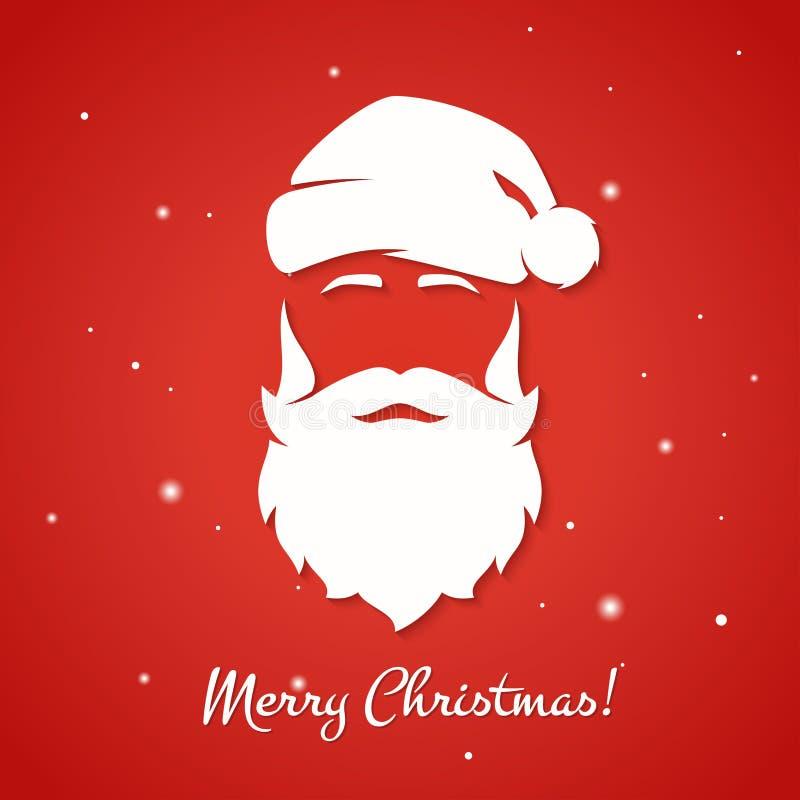 Wesoło bożych narodzeń kartka z pozdrowieniami z Święty Mikołaj sylwetką royalty ilustracja