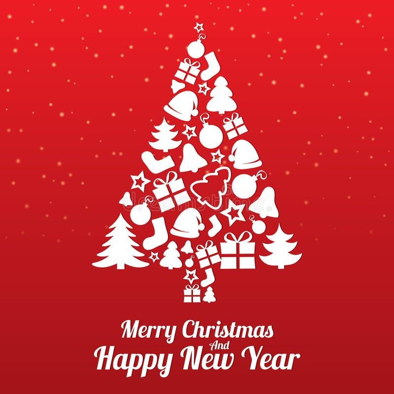 Wesoło bożych narodzeń kartka z pozdrowieniami. Drzewo płaskie ikony. royalty ilustracja