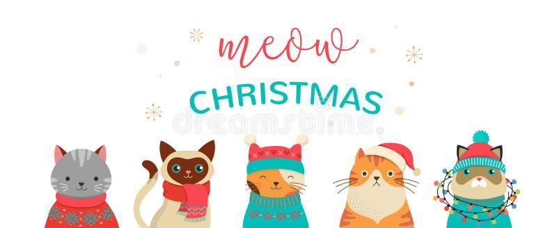 Wesoło bożych narodzeń kartka z pozdrowieniami i sztandar z ślicznymi kotów charakterami, wektorowy collectionn ilustracja wektor
