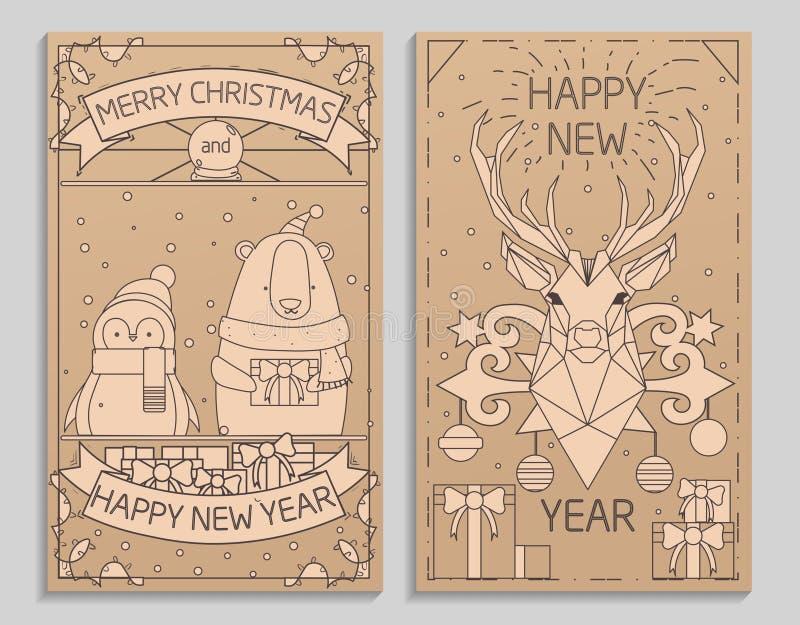 Wesoło bożych narodzeń kartka z pozdrowieniami minimalistic projekt z geometrycznym ilustracja wektor