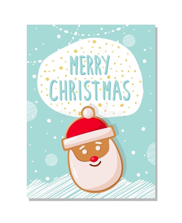 Wesoło bożych narodzeń kartka z pozdrowieniami, Piernikowy Santa ilustracja wektor
