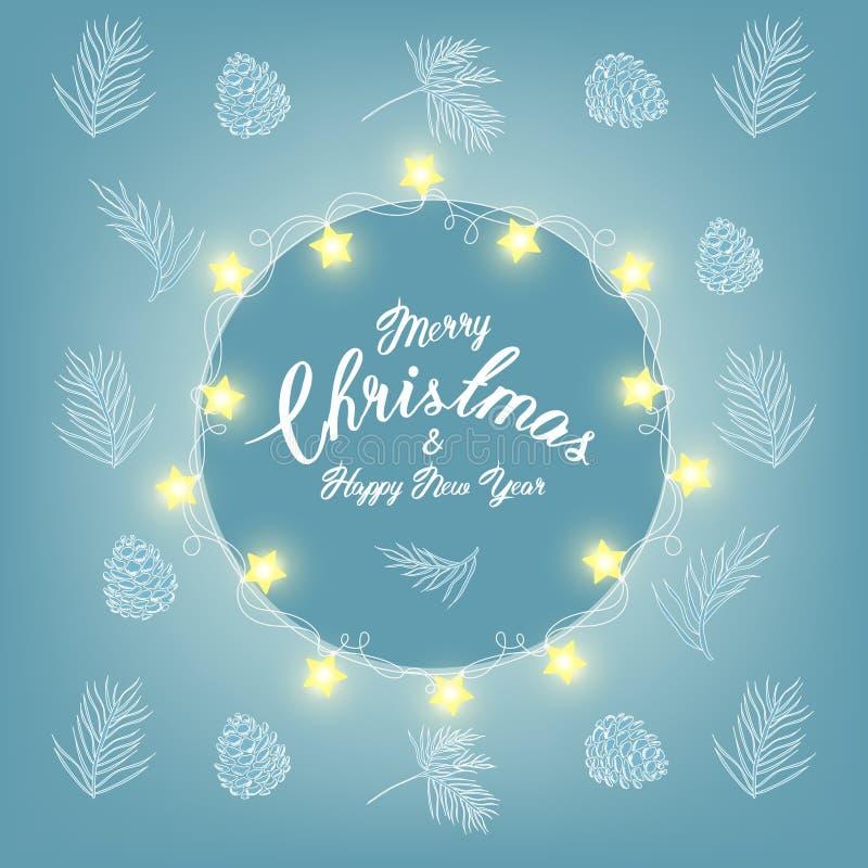 Wesoło bożych narodzeń kartka z pozdrowieniami z tradycyjnymi dekoracjami Piękni boże narodzenia lub zima projekta elementy ręka  ilustracji