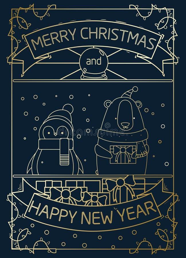 Wesoło bożych narodzeń kartka z pozdrowieniami złocisty projekt z geometrycznym pingwinem ilustracji