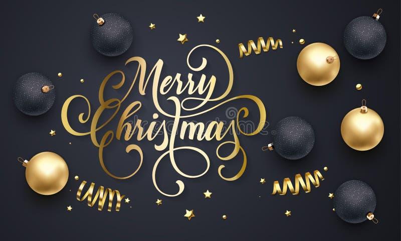 Wesoło bożych narodzeń kartka z pozdrowieniami złote dekoracj piłki, złociści błyskotliwi confetti i gwiazdy, połyskujemy na prem royalty ilustracja