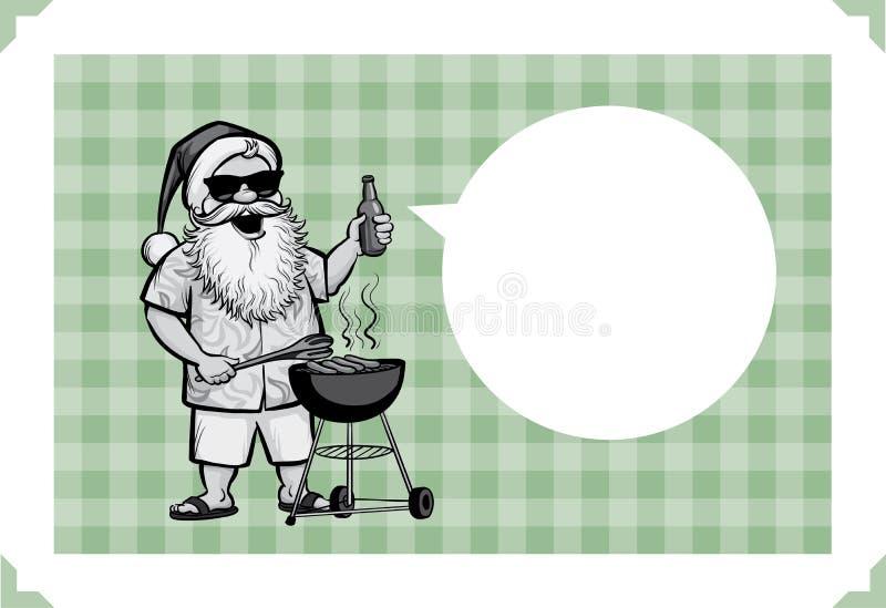 Wesoło bożych narodzeń kartka z pozdrowieniami z piec na grillu Santa z grillem royalty ilustracja