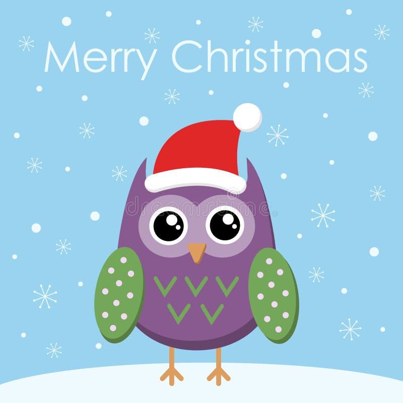 Wesoło bożych narodzeń kartki z pozdrowieniami Płaska sowa w Santa kapeluszu ilustracji