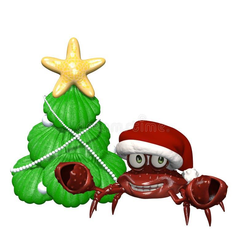 Wesoło Bożych Narodzeń Krab ilustracja wektor