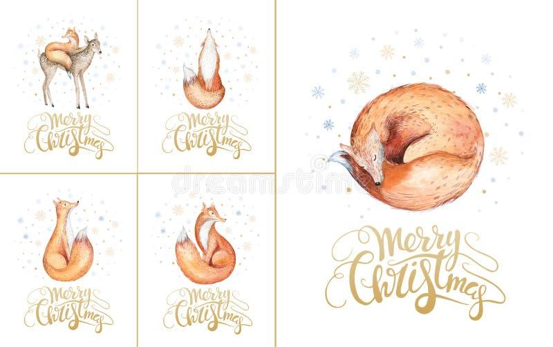 Wesoło bożych narodzeń lisy i płatki śniegu Ręka rysujący lisa illustratio ilustracja wektor