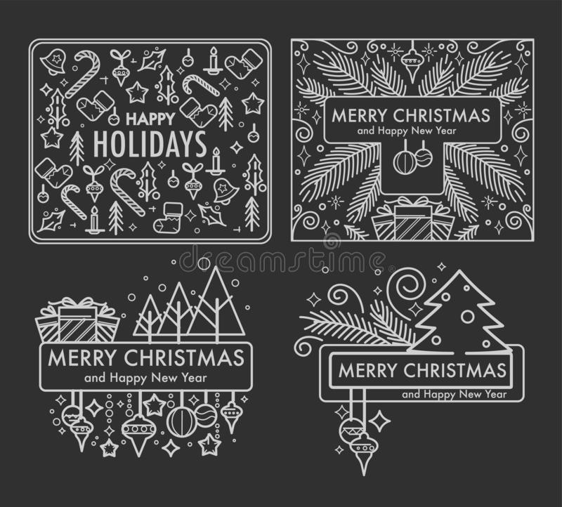 Wesoło bożych narodzeń monochrom kreśli z prezentami i symbolami wektorowymi ilustracji