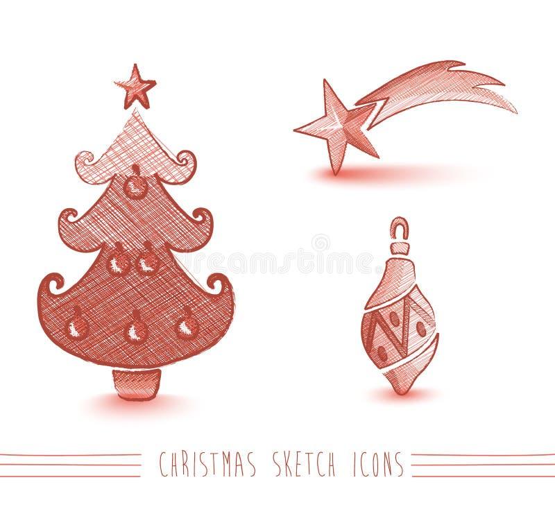 Wesoło bożych narodzeń nakreślenia czerwonego stylu drzewni elementy ustawiają EPS10 kartotekę. ilustracji
