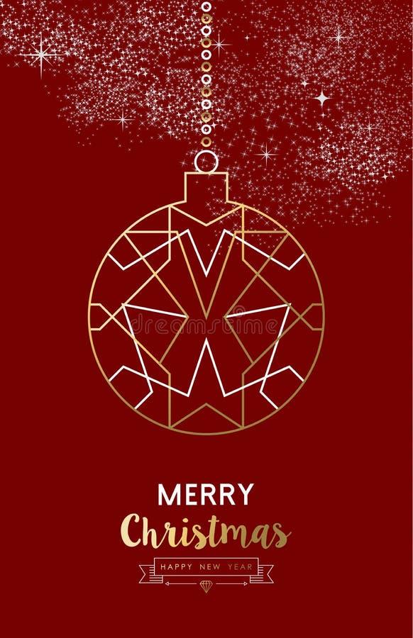 Wesoło bożych narodzeń nowego roku bauble konturu balowy złoto ilustracji