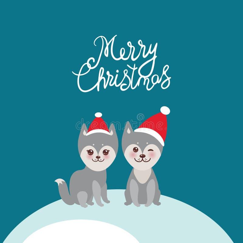 Wesoło bożych narodzeń nowego roku karcianego projekta husky śmieszny szary pies w czerwonym kapeluszu, Kawaii stawia czoło z wie ilustracja wektor
