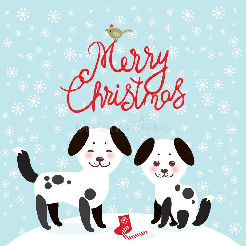Wesoło bożych narodzeń nowego roku karcianego projekta Kawaii śmieszny biały czarny pies, twarz z różowymi policzkami na błękitny ilustracja wektor