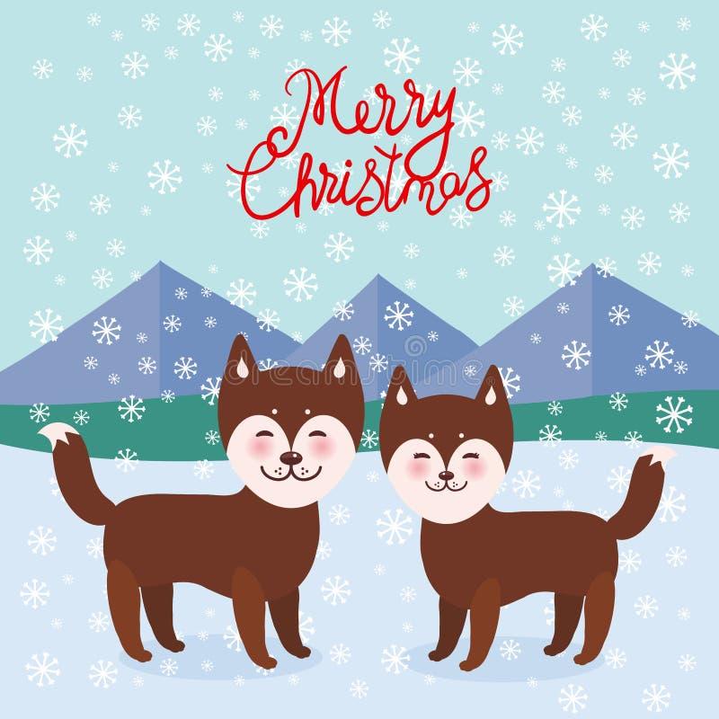 Wesoło bożych narodzeń nowego roku karcianego projekta Kawaii brązu husky śmieszny pies, twarz z, chłopiec i dziewczyna, ampuł oc ilustracji