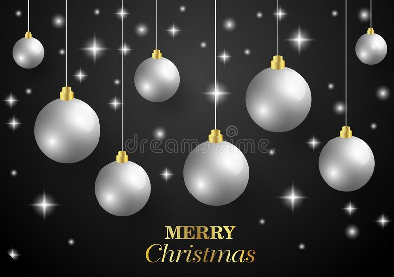 Wesoło bożych narodzeń, nowego roku karta, i błyskotliwości dekoracja Czarny i złocisty tło z boże narodzenie piłkami royalty ilustracja