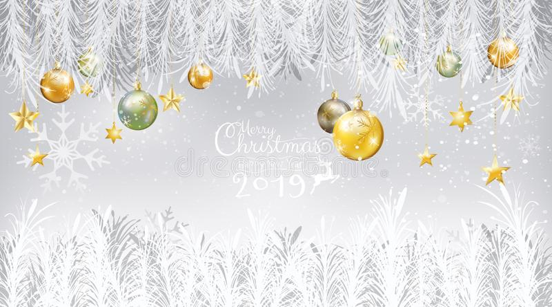 Wesoło bożych narodzeń nowego roku kartki z pozdrowieniami 2019 kaligrafia z jodłą ilustracja wektor