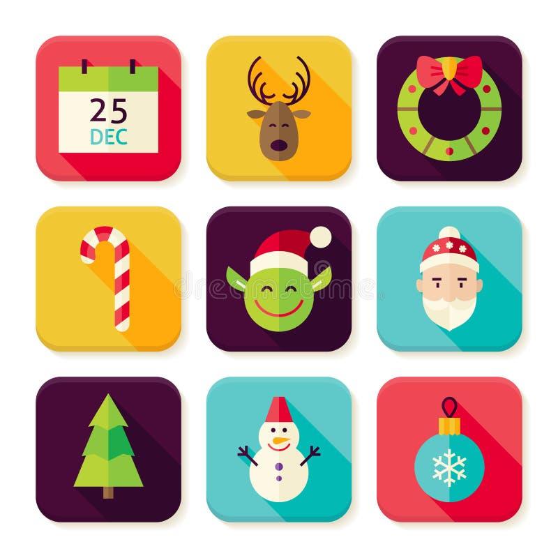 Wesoło bożych narodzeń nowego roku kwadrata App ikony Ustawiać ilustracja wektor