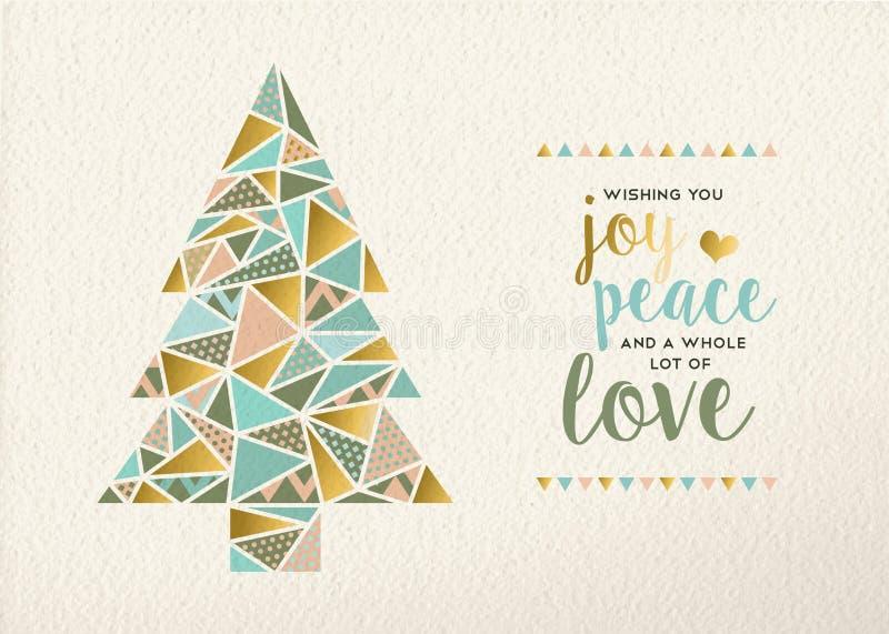 Wesoło bożych narodzeń nowego roku trójboka drzewny złocisty retro ilustracja wektor