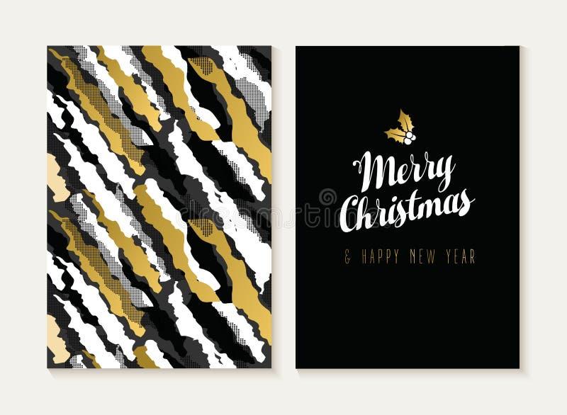 Wesoło bożych narodzeń nowego roku złocista retro deseniowa karta ilustracji