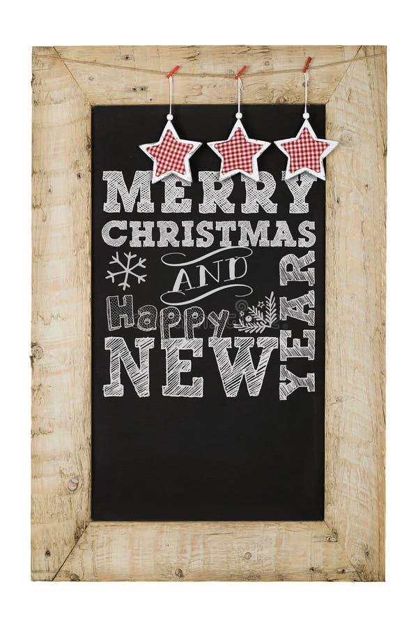 Wesoło bożych narodzeń nowy rok Chalkboard obrazy stock