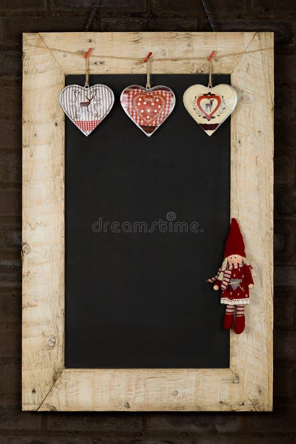 Wesoło bożych narodzeń nowy rok Chalkboard Blackboard Odzyskujący drewno F fotografia stock