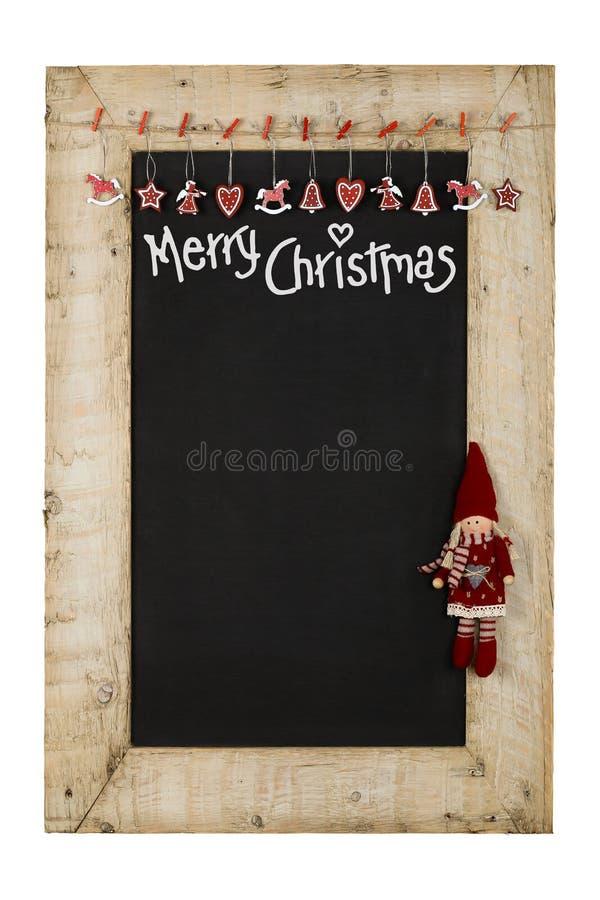 Wesoło bożych narodzeń nowy rok Chalkboard Blackboard Odzyskujący drewno F fotografia royalty free