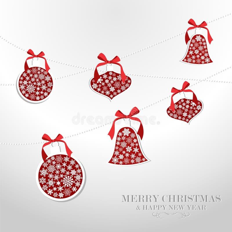 Wesoło Bożych Narodzeń płatków śniegów baubles ilustracja wektor