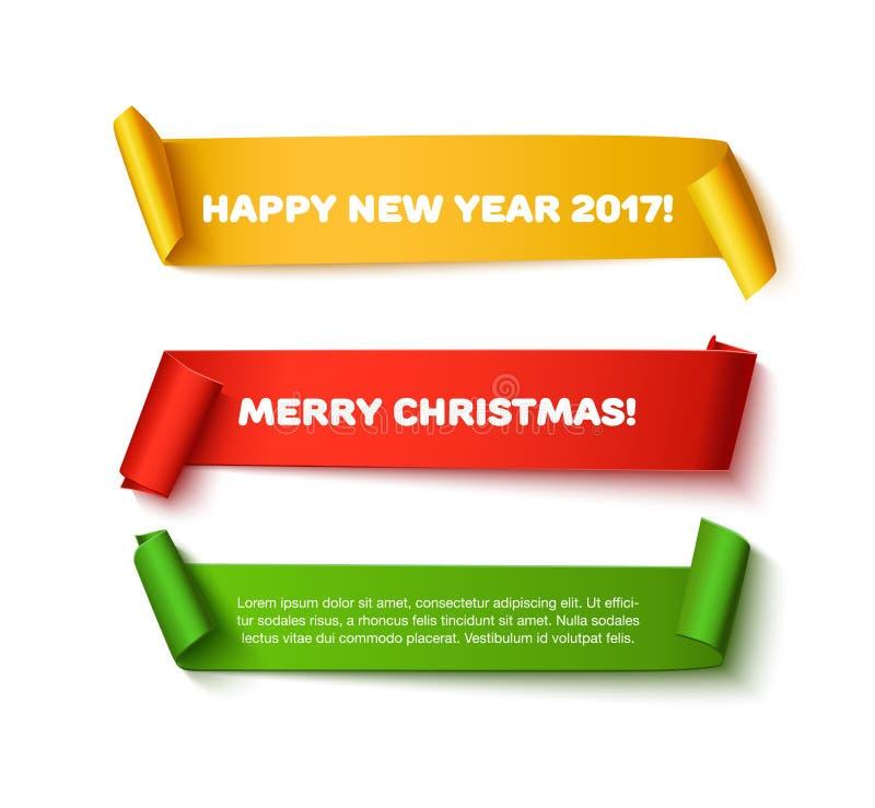 Wesoło bożych narodzeń papieru rolki sztandary z realistycznym cieniem Szczęśliwy nowego roku 2017 set czerwień, zieleń i złoto w ilustracja wektor