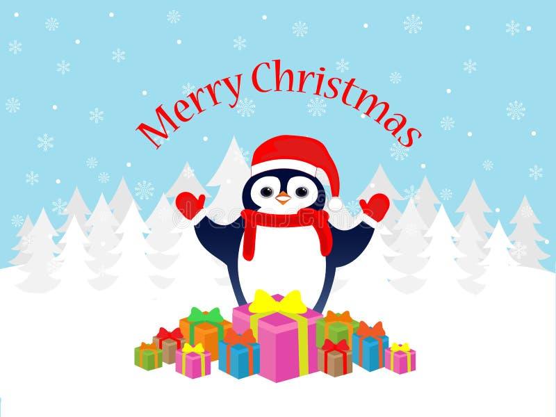 Wesoło bożych narodzeń pingwinu kartka z pozdrowieniami royalty ilustracja