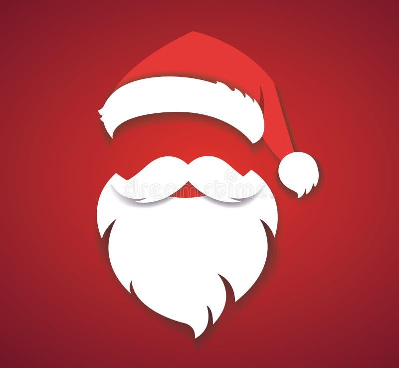 Wesoło bożych narodzeń pojęcia wektorowa czerwień z boże narodzenie kapeluszem eps10 i Santa białej brody ilustracją royalty ilustracja