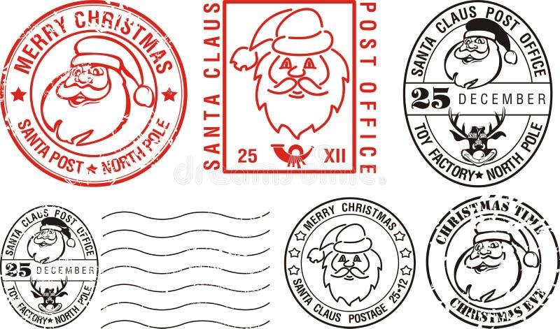 wesoło Bożych Narodzeń postmarks ilustracja wektor