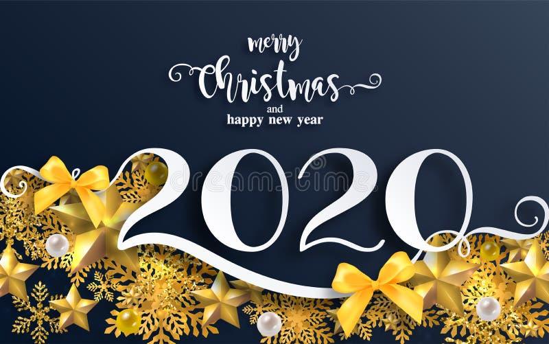 Wesoło bożych narodzeń powitania 2020 i Szczęśliwy nowy rok royalty ilustracja