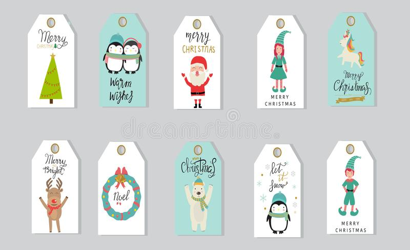 Wesoło bożych narodzeń prezentów etykietki wręczają literowanie ustawiającego dla zimy holid ilustracji