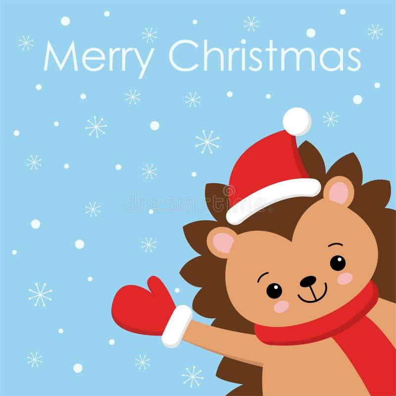 Wesoło bożych narodzeń prezenta karta z ślicznym jeżem jest ubranym z czerwonym szalikiem i Santa kapeluszem r?wnie? zwr?ci? core royalty ilustracja
