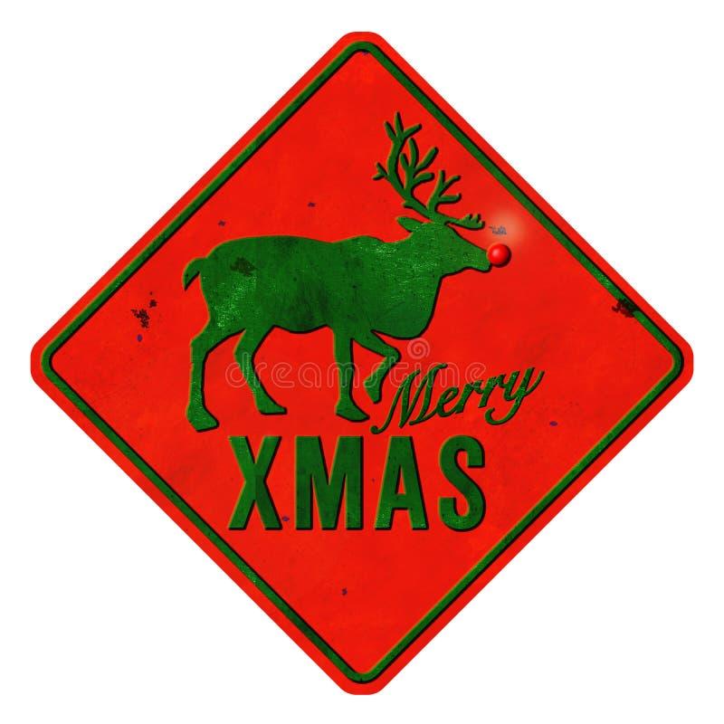 Wesoło bożych narodzeń Rudolf cyny znak zdjęcie stock