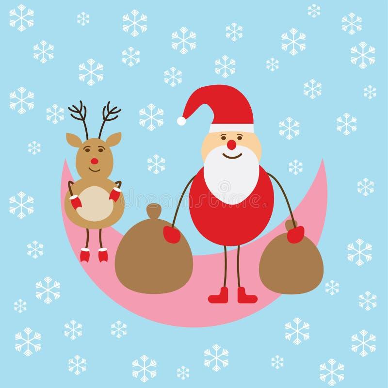 Wesoło bożych narodzeń Santa klauzula pozycja na księżyc ilustracja wektor