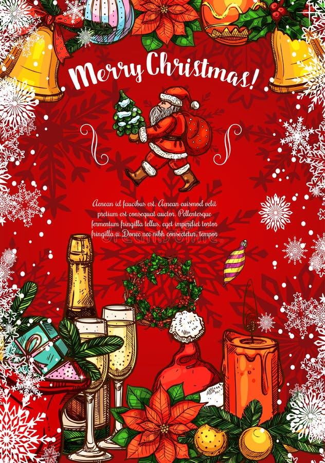 Wesoło bożych narodzeń Santa nakreślenia wektoru kartka z pozdrowieniami ilustracji