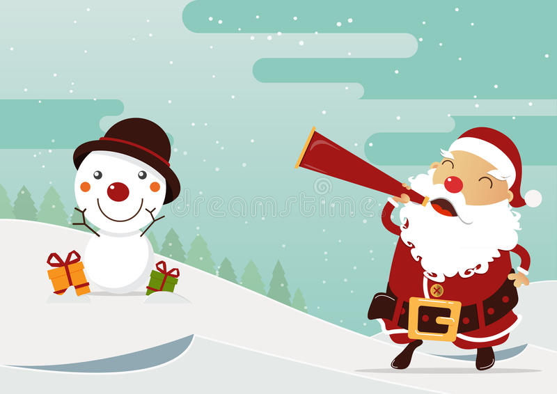 Wesoło bożych narodzeń scena z szczęśliwym Święty Mikołaj i bałwanem tła postać z kreskówki zuchwałych ślicznych psów szczęśliwa  royalty ilustracja